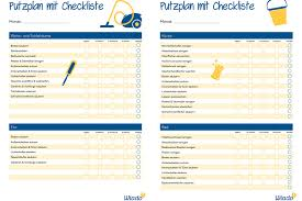 putzplan vorlage mit checkliste haushaltsplan zum
