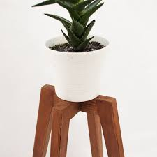 Rustic Plant Stand Wood Legs Planter Base Mid Century Oak Simple Modern Design