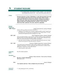 Resume Templates For Students Free