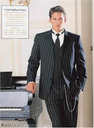 1920s Tuxedo Hats Shoes Shirts And Formal Wear Pinstriped Suit BlackWhite 59500