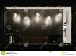 Empty Shop Window Decorated With Led Droplight