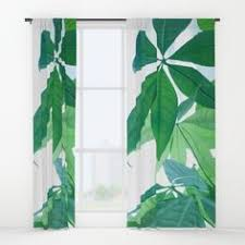 Tropical Window Art Curtains by Green Tropical Leaves Iii Window Curtains Window Curtains