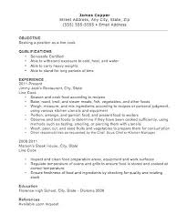 Cook Resume Examples Chef Sample Objective Lead Line