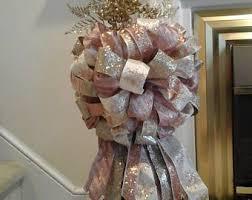 Christmas Tree Topper BowXL Luxury Large Lantern Swag Elegant Wreath Bow Blush Designer Ribbon Rose Gold Holiday Decor