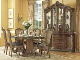 Dining Room Set With China Cabinet Old World Double Pedestal Extendable From Art