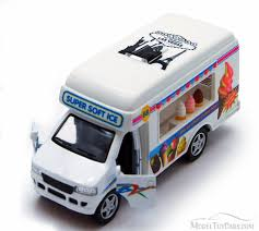 100 Ice Cream Truck Number White Kinsmart 5253D 5 Inch Scale Diecast Model