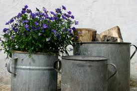Vintage Zinc Planter Rustic Plant Pots Planters By