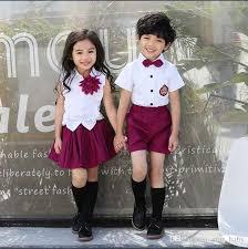 2017 New Kids School Uniform Dress Set Children Boy Sets Shirt Girls Brooch Purple Skirt Boys Bow Shirts Short Pants K8225