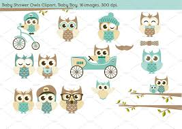 Baby Shower Owls Baby Boy Illustrations Creative Market