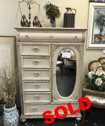 SOLD Before After Shabby Chic Dresser W Oval Mirror
