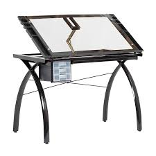 100 Studio Designs SD STUDIO DESIGNS Futura Modern Glass Top Adjustable Drafting Table Craft Table Drawing Desk Hobby Table Writing Desk Desk With Drawers 38W
