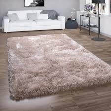 hochflor teppich shaggy für wohnzimmer mit glitzer garn einfarbig in beige