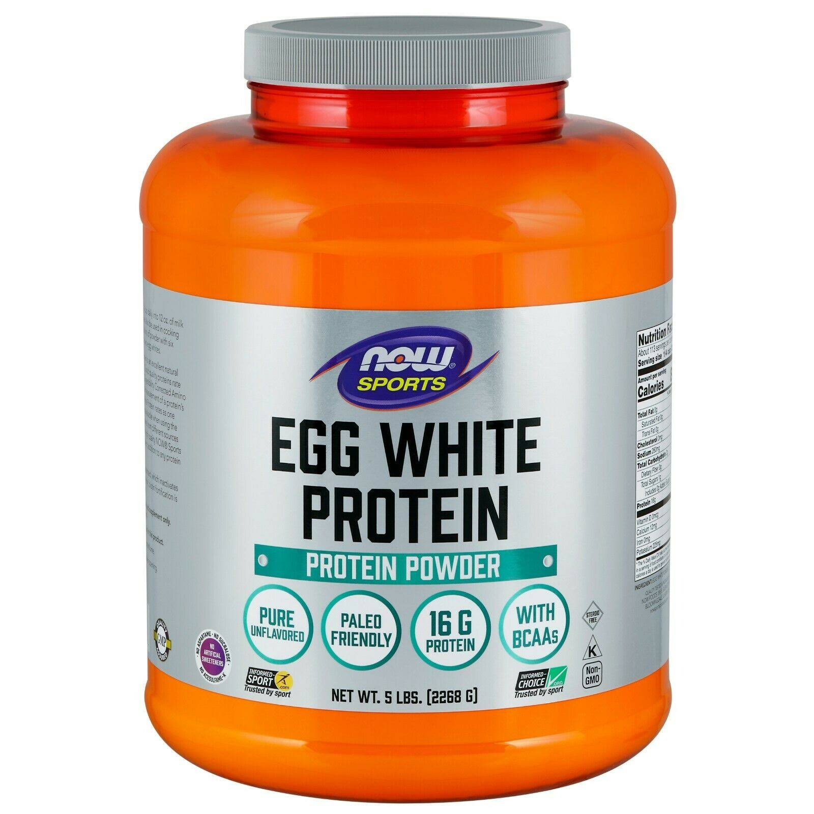Now Sports Egg White Protein Powder - 1.2lbs