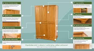Text Decoration Underline Thickness by Wardrobe 016 Solid Pine Wood Alder Coloured 016 H190 X W120 X
