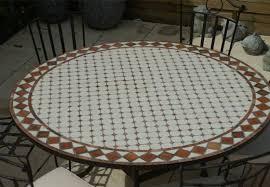table ronde mosaique fer forge table jardin mosaique ronde 150cm blanc losange argile cuite