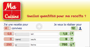 recettes de cuisine en macuisine calculer quantités ingrédients recettes selon convives