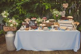 Wedding Dessert Table With Rustic Crates Vintage Crockery And