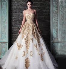 2015 fashion corset wedding dresses with stunning gold