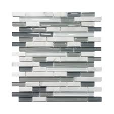 Lowes Canada Bathroom Floor Tile by Avenzo 5 8 In Arctic Strip White U0026 Gray Stone Glass Wall Tile