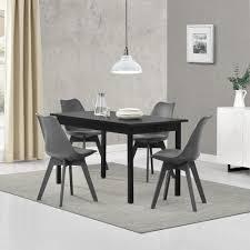 en casa esstisch mit 4 stühlen schwarz grau 140x60cm