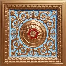 Decorative Ceiling Tiles 24x24 by Vc 02 Faux Tin Drop In Ceiling Tiles 24x24 Baby Blue Gold By