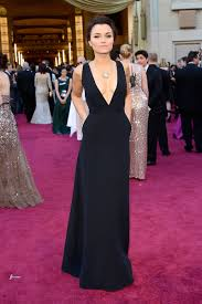 Evening Dresses Red Carpet by Samantha Barks Plunging Black A Line Celebrity Evening Dress