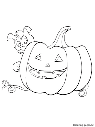 Pumpkin Patch Coloring Pages Free Printable by A Big Pumpkin With A Puppy U2013 Coloring Page For Halloween