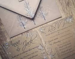 Winter Wedding Invitations Handmade Kraft Rustic Invitation Christmas