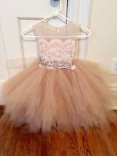 Tulle And Lace Champagne Rose Gold Flower Girl Dress