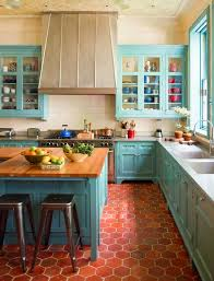 This Kitchen Pops With The Combination Of Red Tile Floor And Turquoise Cabinet Trim