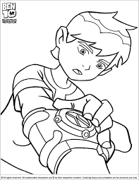 Ben 10 Coloring Sheet Is Using His Watch