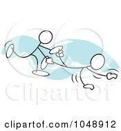 Royalty Free RF Clip Art Illustration Sticklers In A Wheel Barrow Race Over Blue