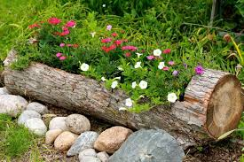 DIY Rustic Log Flower Container