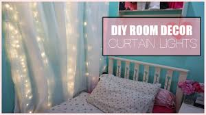 Fabric For Curtains Diy by Diy Room Decor Curtain Lights Youtube