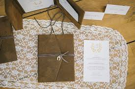 Barn Rustic Wedding Invitations With Leather Pocket And Horseshoe Charm