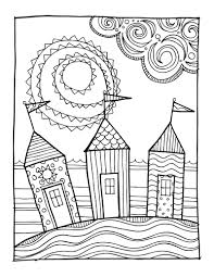 KPM Doodles Coloring Page Beach Houses By Kpmdoodles On Etsy