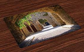 Lunarable Tuscan Place Mats Set Of 4 Ancient Italian Street In A Small Provincial Town
