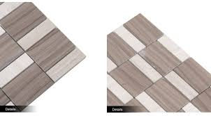 Chinese Wood Light Grain And Athens Gray Marble Grey Floor Mosaic Tile