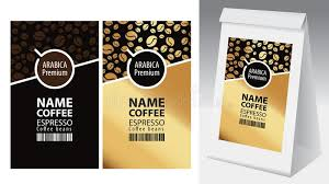 Download Vector Labels And Paper Packaging For Coffee Beans Stock