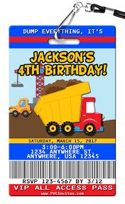 100 Truck Birthday Invitations Dump PVC Invites VIP