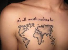 Men Chest Simple Text World Map Tattoo