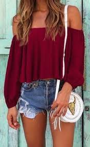 Summer Fashion Red Off The Shoulder Top Denim Short Shorts Cute ShirtsCute