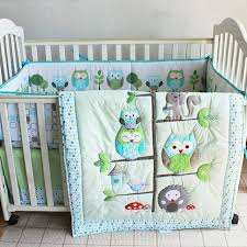 7pcs Boy Baby Bedding Set Owl Family Nursery Quilt Bumper Sheet
