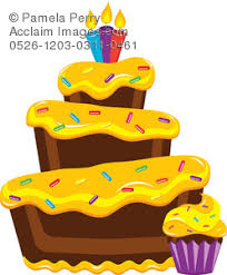 Clip Art Illustration of a Chocolate Bakery Cupcake and Birthday Cake With Sprinkles