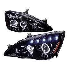 03 07 honda accord black halo projector led headlights