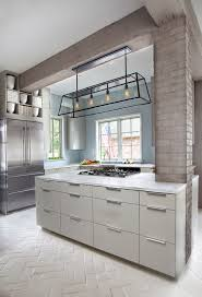 white painted brick kitchen contemporary with white countertop