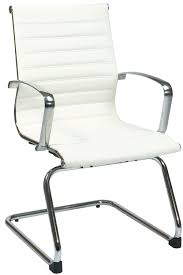 fice Star Modern White Eco Leather Visitors Chair
