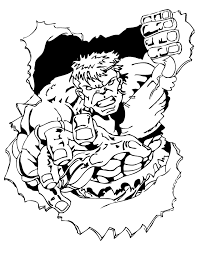 Strong Incredible Hulk Breaking Rock Coloring Page Ironman