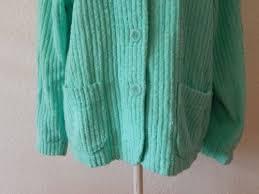 mint green womens bed jacket vintage chenille bedspread coat short