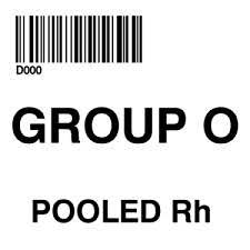 100 Groupo ISBT 128 LABEL SYNTHETIC PERMANENT GROUP O POOLED RH 2 X 2